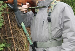 Shoulder Harness in Army Woodland with Optional Tactical Belt
